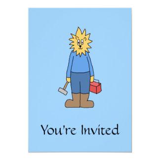 "Construction Worker Lion. 5"" X 7"" Invitation Card"