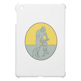 Construction Worker Operating Jackhammer Oval Draw Case For The iPad Mini