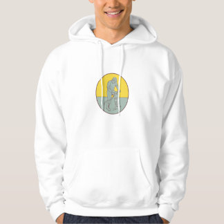 Construction Worker Operating Jackhammer Oval Draw Hoodie