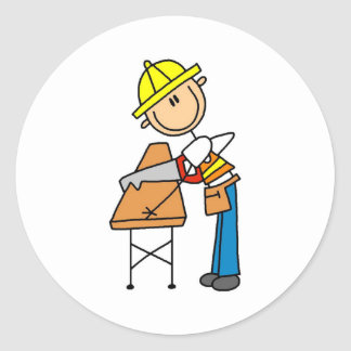 Construction Worker Sawing Board Sticker