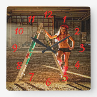 Construction Worker Sexy Square Wall Clock