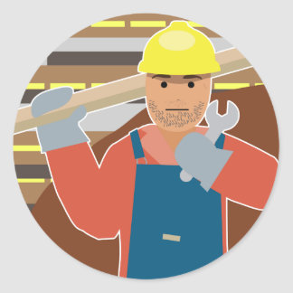 Construction worker (Simple History) Round Sticker