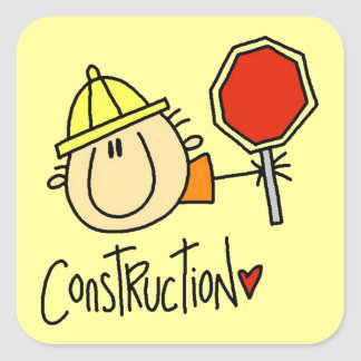 Construction Worker Square Sticker