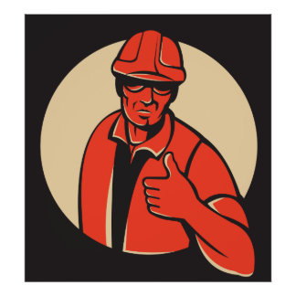 construction worker thumb up retro poster