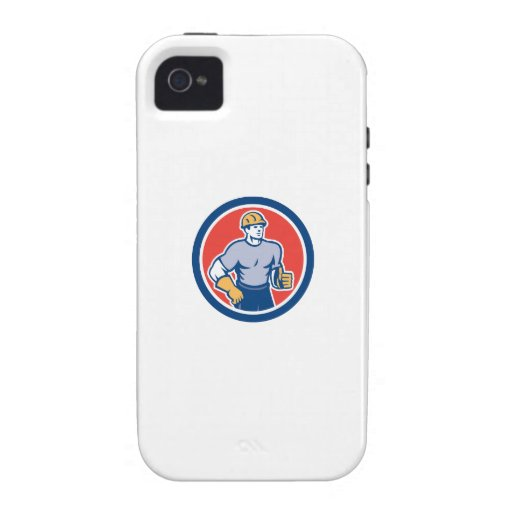 Construction Worker Thumbs Up Circle Retro Vibe iPhone 4 Cover