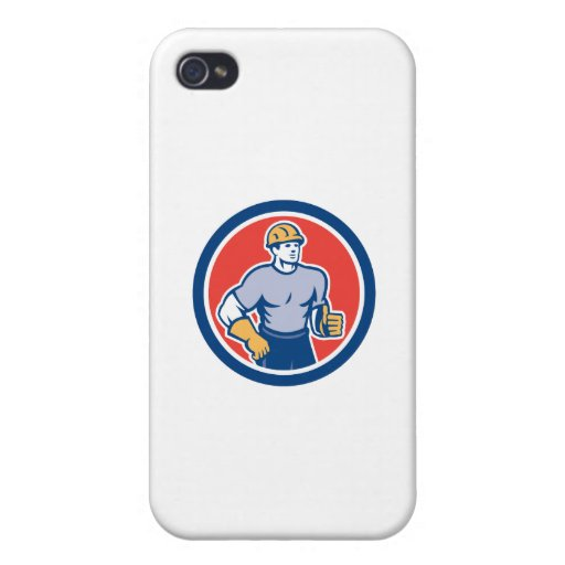 Construction Worker Thumbs Up Circle Retro iPhone 4/4S Cases