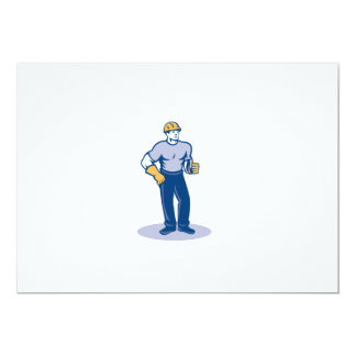 Construction Worker Thumbs Up Retro Invites