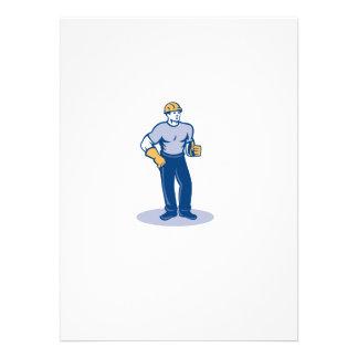 Construction Worker Thumbs Up Retro Custom Invite