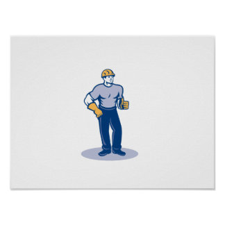 Construction Worker Thumbs Up Retro Poster