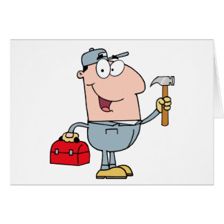 Construction Worker With Hammer And Tool Box Card