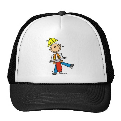 Construction Worker with Jack Hammer Trucker Hat