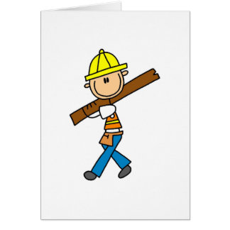 Construction Worker with Lumber Card