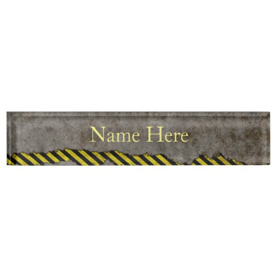 Construction Yellow and Black Name Plates