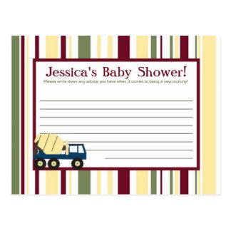 Construction Zone Baby Shower Writable Advice Card Postcard