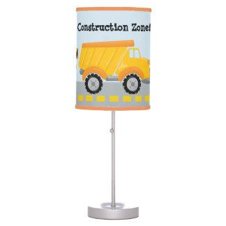 Construction Zone dump truck boys room table lamp