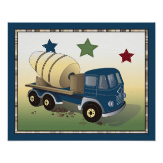 Construction Zone Nursery Art Print - Cement Mixer