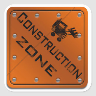 Construction Zone Square Sticker