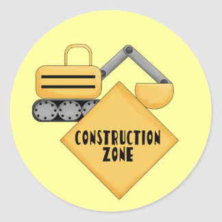 Construction Zone Tshirts and Gifts Classic Round Sticker