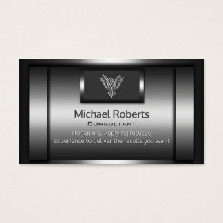Consultant - shiny faux metal, silver eagle logo business card