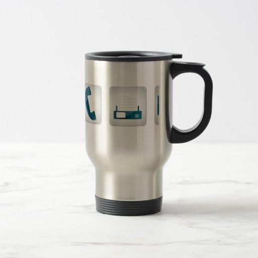 Contact icons coffee mugs