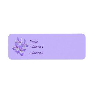 Contact pourpre d'iris de ressort étiquette d'adresse retour