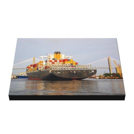 Container Cargo Ship on Savannah River Canvas Print