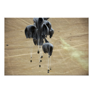 Container delivery system bundles parachute poster
