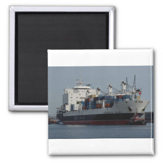Container ship arriving at Tilbury docks, England Square Magnet