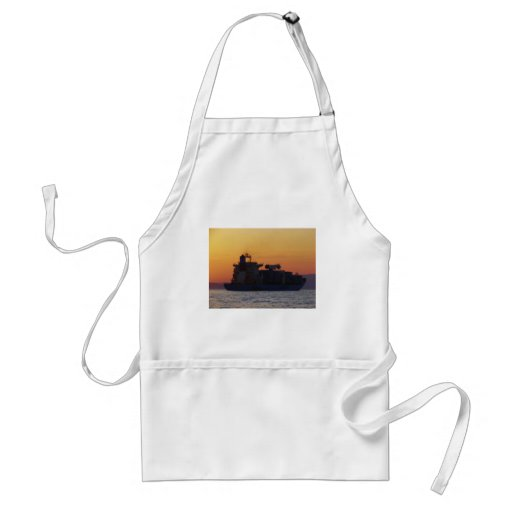 Container ship at sunset aprons
