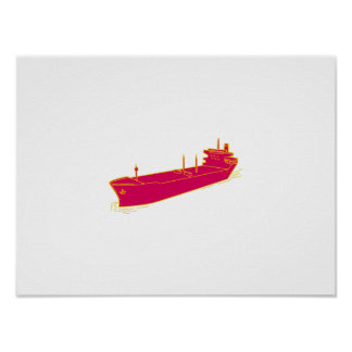 Container Ship Cargo Boat Mono Line Poster