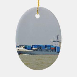 Container Ship Emily Borchard Ceramic Oval Ornament