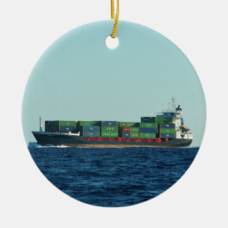 Container Ship Round Ceramic Ornament