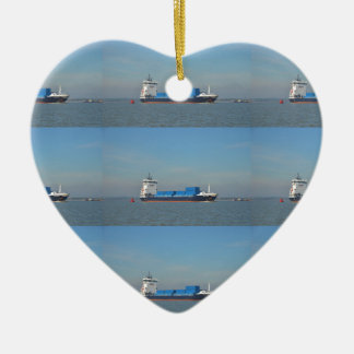 Container Ship Vantage Ceramic Heart Ornament