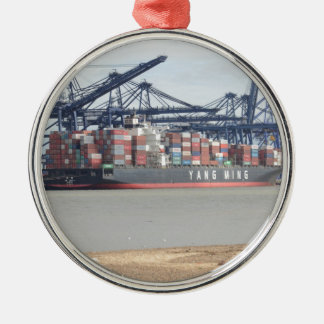 Container Ship YM Unity Silver-Colored Round Ornament