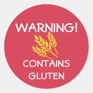 Contains Gluten Food Allergy Alert Red Classic Round Sticker