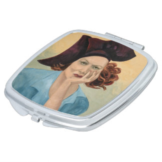 """""""Contemplating Her Next Move"""" - Mirror Compact Mirror For Makeup"""