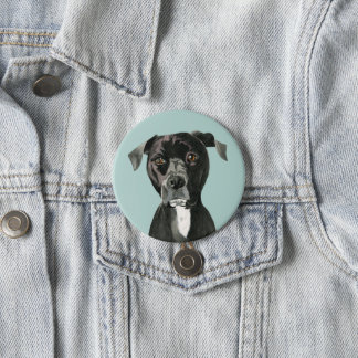 """Contemplating"" Pit Bull Dog Painting 3 Inch Round Button"