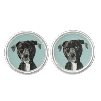 """""""Contemplating"""" Pit Bull Dog Painting Cufflinks"""