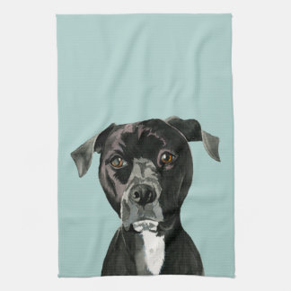 """Contemplating"" Pit Bull Dog Painting Kitchen Towel"