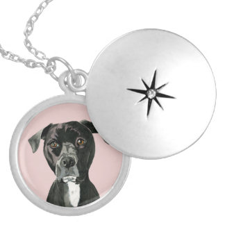 """Contemplating"" Pit Bull Dog Painting Silver Plated Necklace"