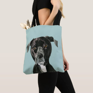 """Contemplating"" Pit Bull Dog Painting Tote Bag"