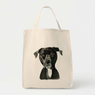 """""""Contemplating"""" Pit Bull Dog Painting Tote Bag"""