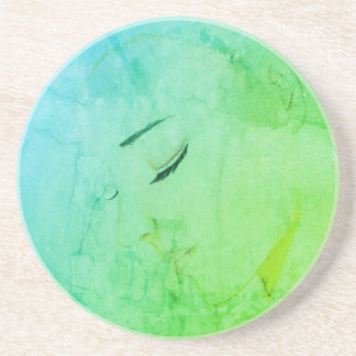 Contemplation Girl Lady Sketch Illustration Green Beverage Coaster