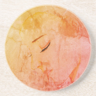 Contemplation Girl Lady Sketch Illustration Orange Coaster