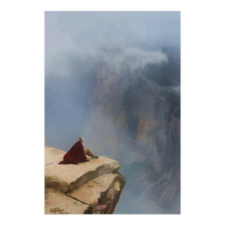Contemplation on a Cliff Poster