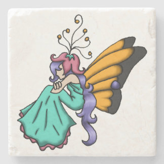 """Contemplation"" Simple Fairy Beverage Coaster"