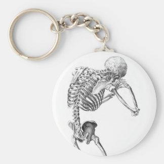 Contemplative Skelton Basic Round Button Keychain