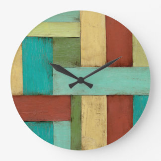 Contempoary Coastal Multicolored Painting Large Clock
