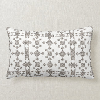 Contemporary 2 toned white and grey lumbar pillow