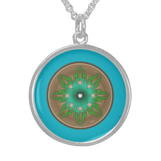 Contemporary Abstract Sun Motif Round Pendant Necklace
